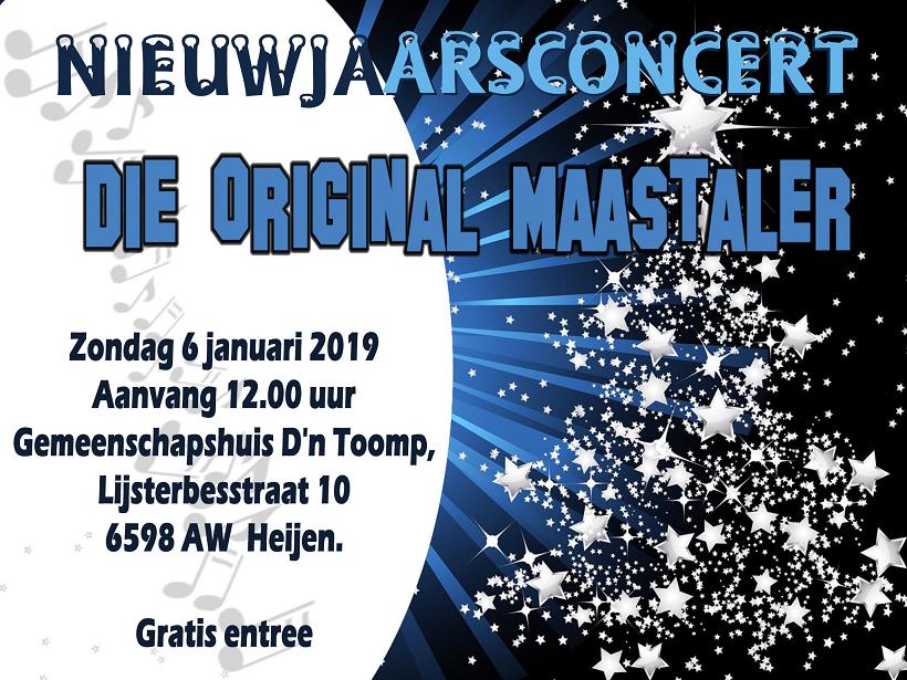 Nieuwjaarsconcert Die Original Maastaler 6 januari 2019